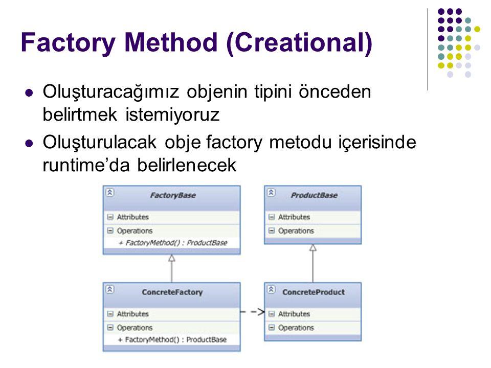 Factory Method (Creational) * Oluşturacağımız objenin tipini önceden belirtmek istemiyoruz Oluşturulacak obje factory metodu içerisinde runtime'da belirlenecek