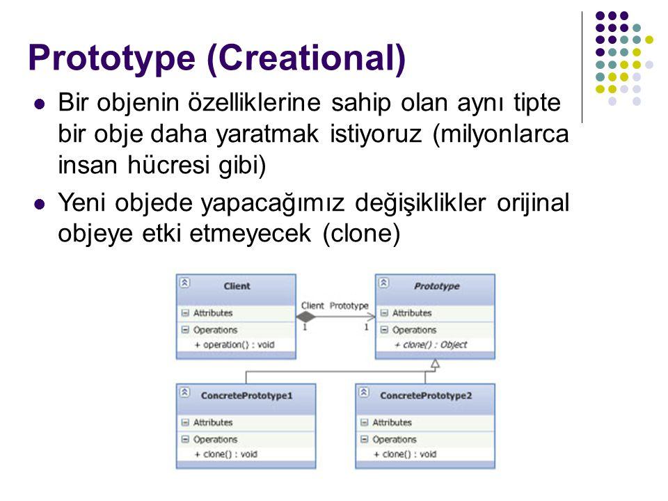 Prototype (Creational) * Bir objenin özelliklerine sahip olan aynı tipte bir obje daha yaratmak istiyoruz (milyonlarca insan hücresi gibi) Yeni objede yapacağımız değişiklikler orijinal objeye etki etmeyecek (clone)