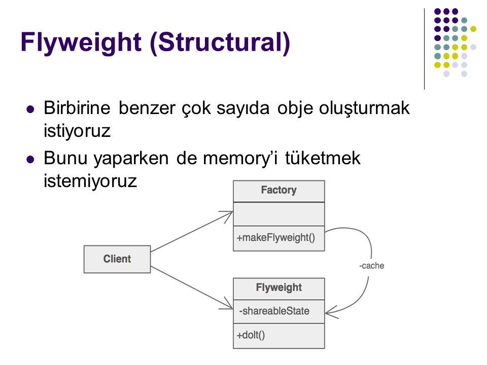 Flyweight (Structural) Birbirine benzer çok sayıda obje oluşturmak istiyoruz Bunu yaparken de memory'i tüketmek istemiyoruz