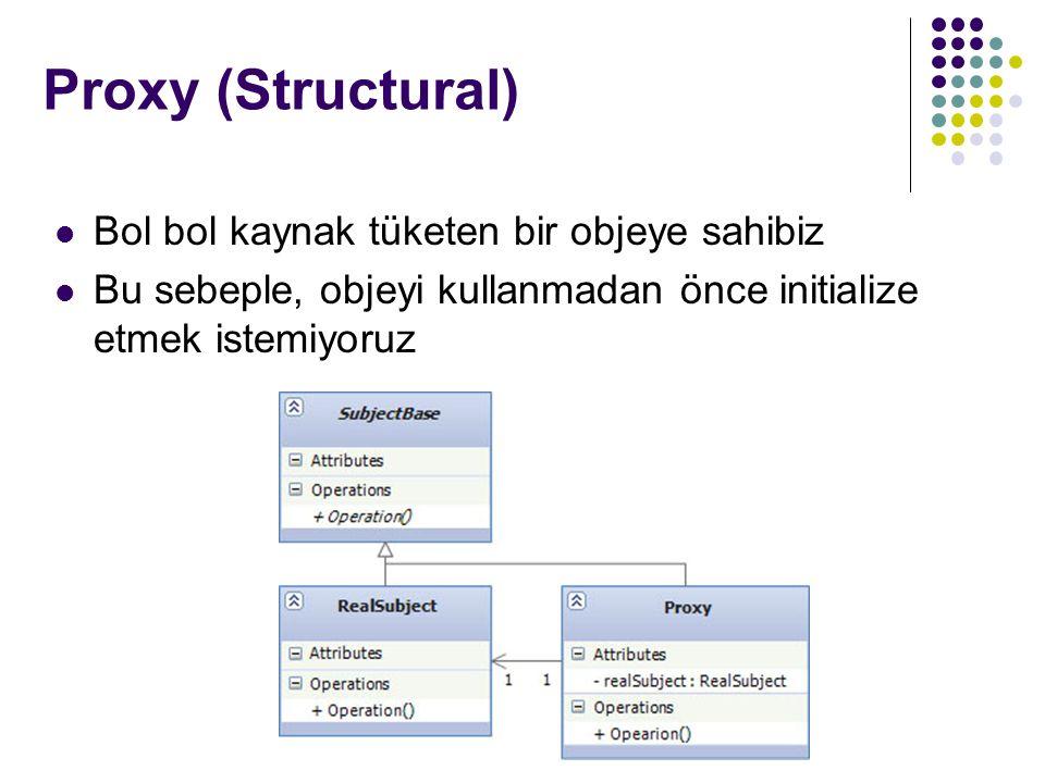Proxy (Structural) Bol bol kaynak tüketen bir objeye sahibiz Bu sebeple, objeyi kullanmadan önce initialize etmek istemiyoruz