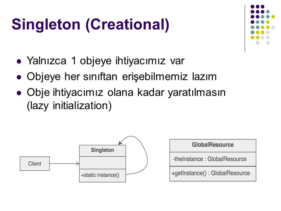 Yalnızca 1 objeye ihtiyacımız var Objeye her sınıftan erişebilmemiz lazım Obje ihtiyacımız olana kadar yaratılmasın (lazy initialization) Singleton (Creational)