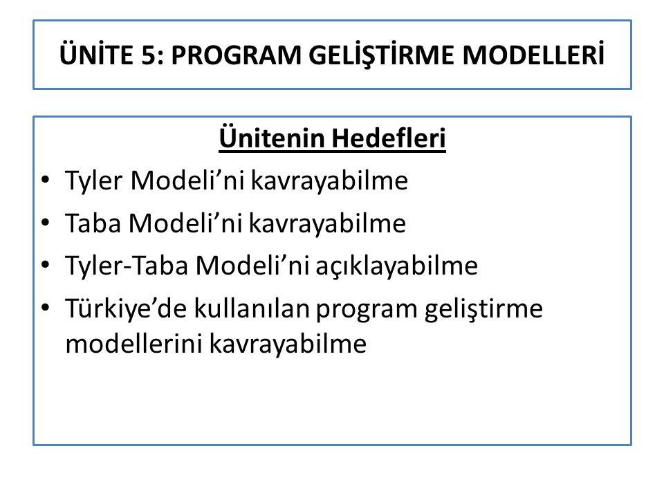 ÜNİTE 5: PROGRAM GELİŞTİRME MODELLERİ Ünitenin Hedefleri Tyler Modeli'ni kavrayabilme Taba Modeli'ni kavrayabilme Tyler-Taba Modeli'ni açıklayabilme T