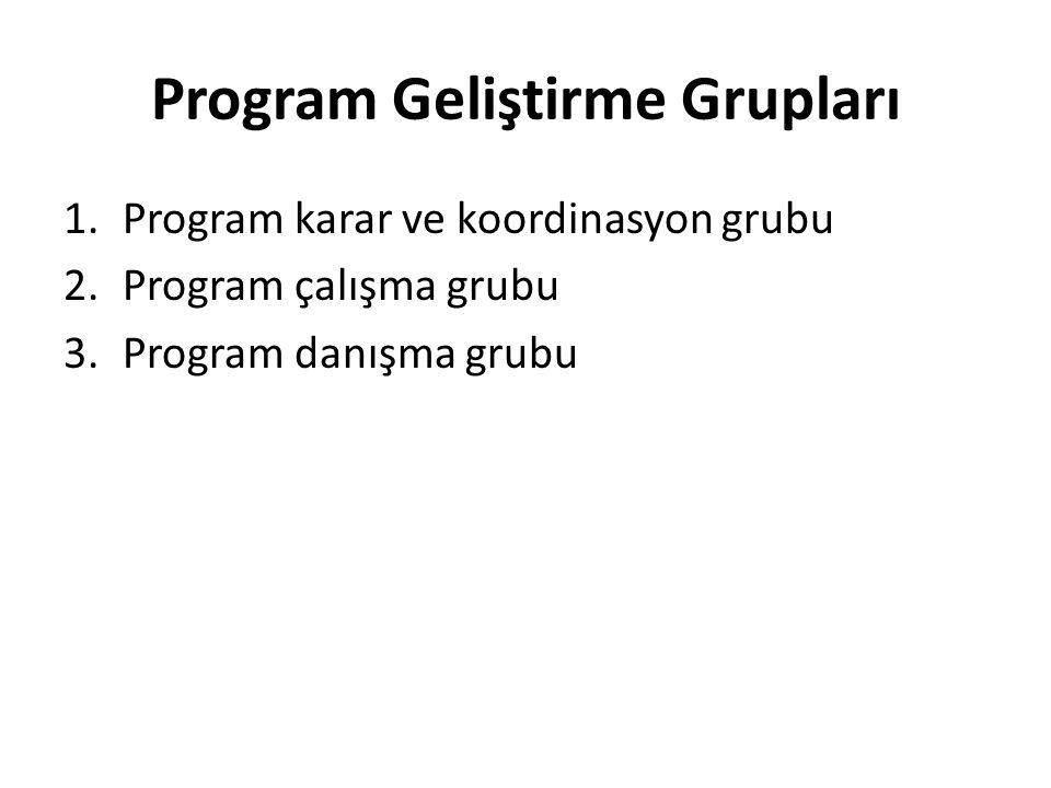Program Geliştirme Grupları 1.Program karar ve koordinasyon grubu 2.Program çalışma grubu 3.Program danışma grubu