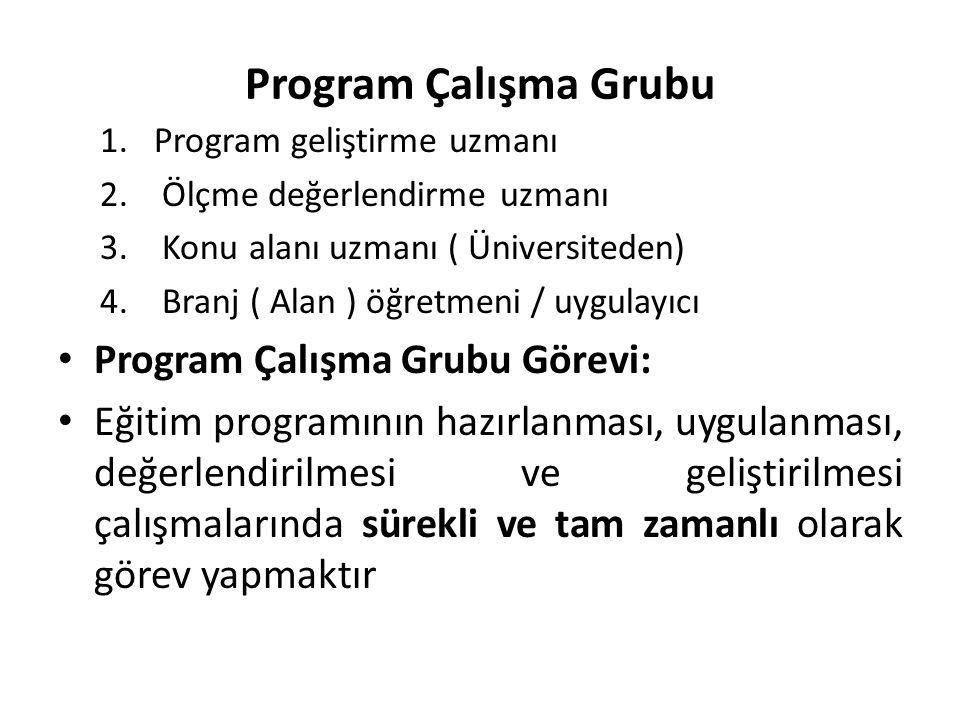Program Çalışma Grubu 1.Program geliştirme uzmanı 2. Ölçme değerlendirme uzmanı 3. Konu alanı uzmanı ( Üniversiteden) 4. Branj ( Alan ) öğretmeni / uy
