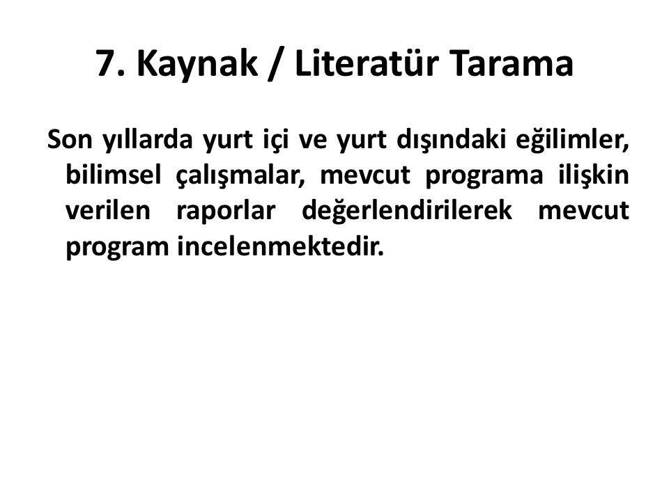 7. Kaynak / Literatür Tarama Son yıllarda yurt içi ve yurt dışındaki eğilimler, bilimsel çalışmalar, mevcut programa ilişkin verilen raporlar değerlen