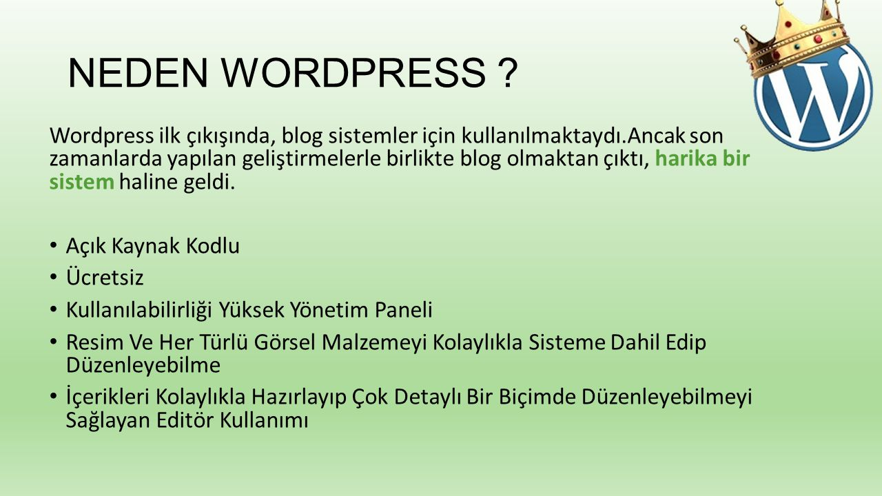 NEDEN WORDPRESS .