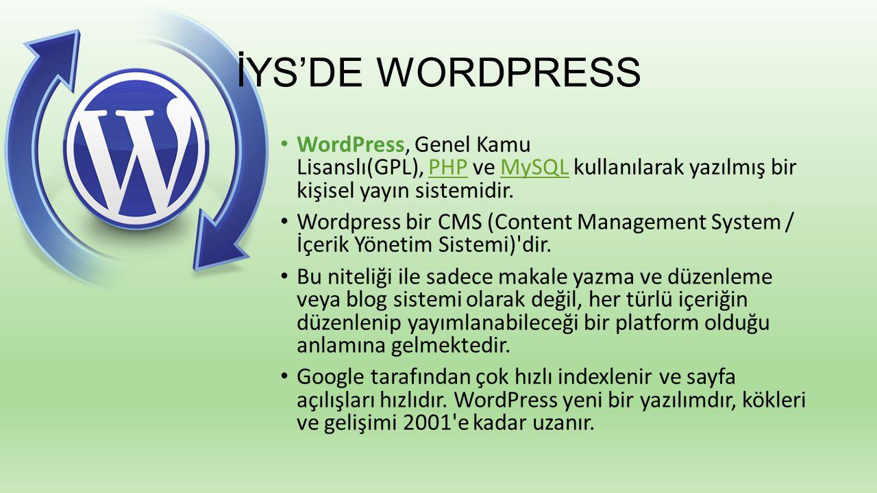 İYS'DE WORDPRESS WordPress, Genel Kamu Lisanslı(GPL), PHP ve MySQL kullanılarak yazılmış bir kişisel yayın sistemidir.PHPMySQL Wordpress bir CMS (Cont