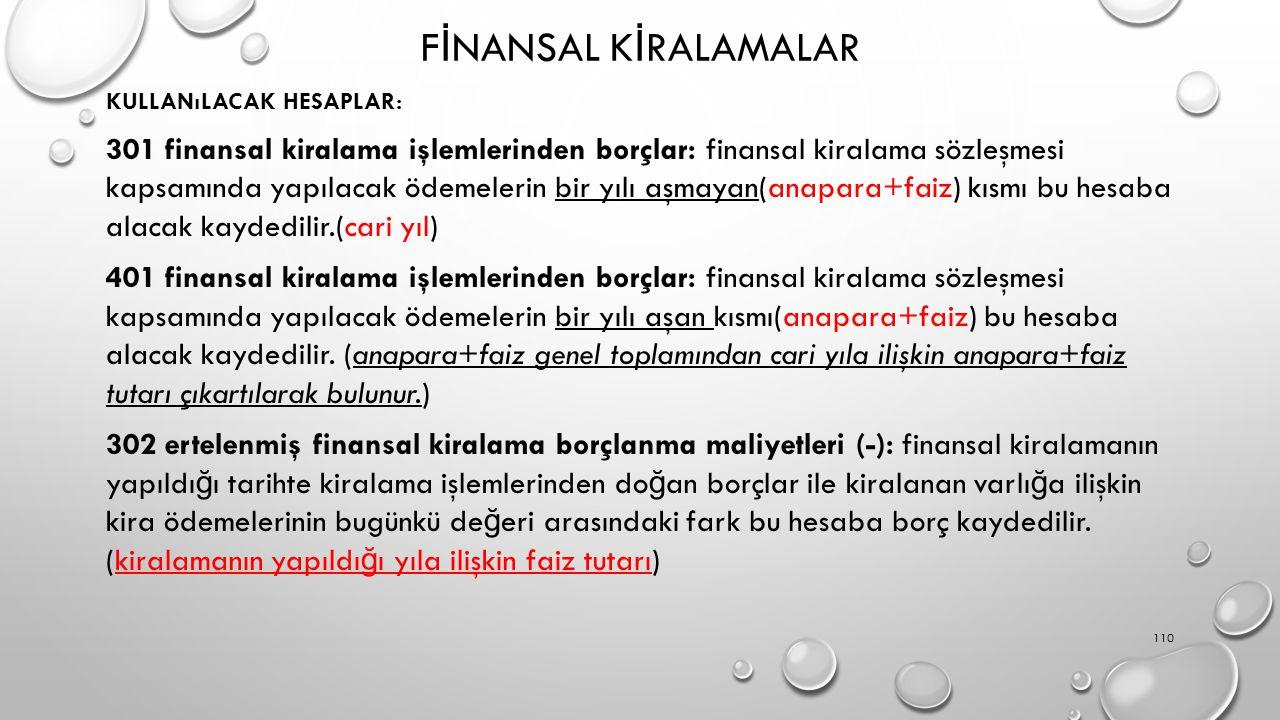 F İ NANSAL K İ RALAMALAR KULLANıLACAK HESAPLAR: 301 finansal kiralama işlemlerinden borçlar: finansal kiralama sözleşmesi kapsamında yapılacak ödemele