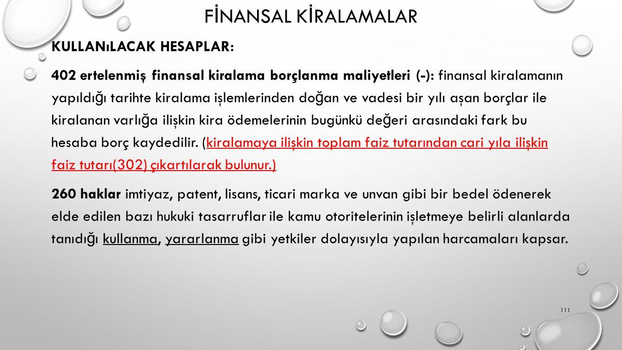 F İ NANSAL K İ RALAMALAR KULLANıLACAK HESAPLAR: 402 ertelenmiş finansal kiralama borçlanma maliyetleri (-): finansal kiralamanın yapıldı ğ ı tarihte kiralama işlemlerinden do ğ an ve vadesi bir yılı aşan borçlar ile kiralanan varlı ğ a ilişkin kira ödemelerinin bugünkü de ğ eri arasındaki fark bu hesaba borç kaydedilir.