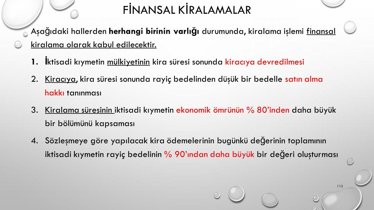 F İ NANSAL K İ RALAMALAR Aşa ğ ıdaki hallerden herhangi birinin varlı ğ ı durumunda, kiralama işlemi finansal kiralama olarak kabul edilecektir. 1. İ