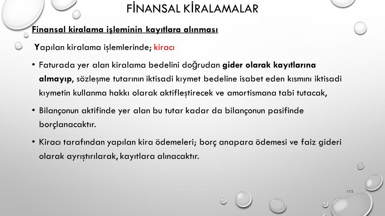 F İ NANSAL K İ RALAMALAR Finansal kiralama işleminin kayıtlara alınması Yapılan kiralama işlemlerinde; kiracı Faturada yer alan kiralama bedelini do ğ rudan gider olarak kayıtlarına almayıp, sözleşme tutarının iktisadi kıymet bedeline isabet eden kısmını iktisadi kıymetin kullanma hakkı olarak aktifleştirecek ve amortismana tabi tutacak, Bilançonun aktifinde yer alan bu tutar kadar da bilançonun pasifinde borçlanacaktır.