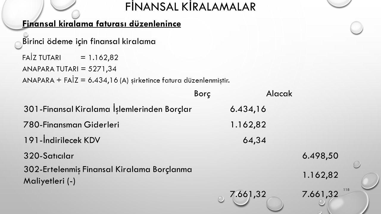 F İ NANSAL K İ RALAMALAR Finansal kiralama faturası düzenlenince Birinci ödeme için finansal kiralama FA İ Z TUTARI = 1.162,82 ANAPARA TUTARI = 5271,34 ANAPARA + FA İ Z = 6.434,16 (A) şirketince fatura düzenlenmiştir.
