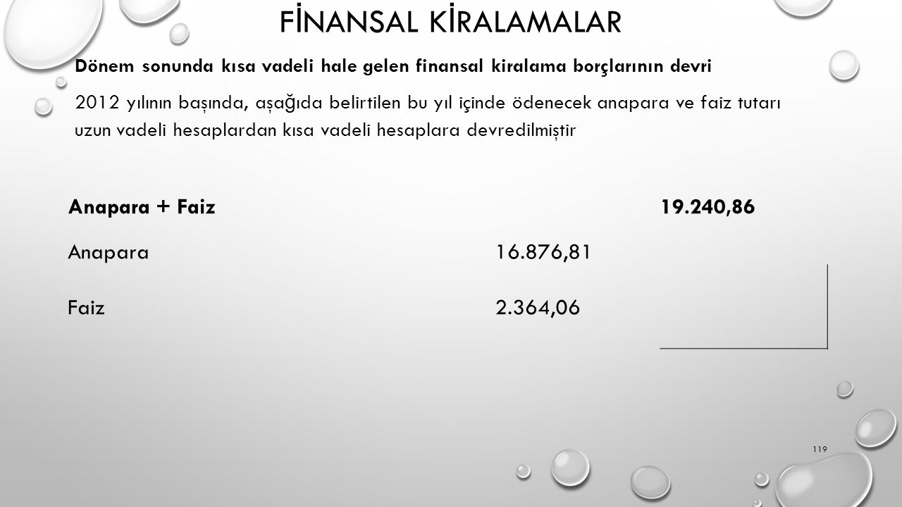 F İ NANSAL K İ RALAMALAR Dönem sonunda kısa vadeli hale gelen finansal kiralama borçlarının devri 2012 yılının başında, aşa ğ ıda belirtilen bu yıl içinde ödenecek anapara ve faiz tutarı uzun vadeli hesaplardan kısa vadeli hesaplara devredilmiştir 119 Anapara + Faiz 19.240,86 Anapara16.876,81 Faiz2.364,06
