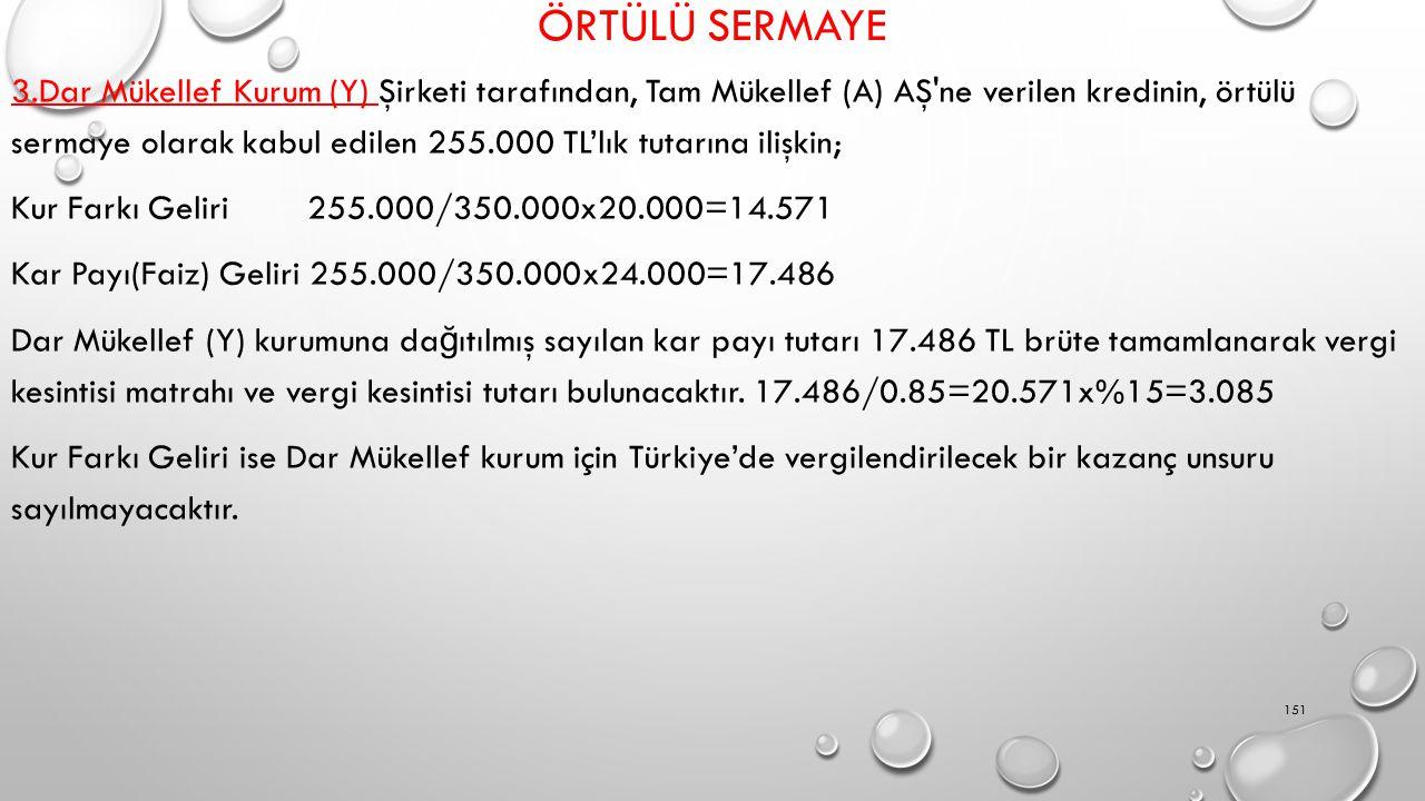 ÖRTÜLÜ SERMAYE 3.Dar Mükellef Kurum (Y) Şirketi tarafından, Tam Mükellef (A) AŞ ne verilen kredinin, örtülü sermaye olarak kabul edilen 255.000 TL'lık tutarına ilişkin; Kur Farkı Geliri 255.000/350.000x20.000=14.571 Kar Payı(Faiz) Geliri 255.000/350.000x24.000=17.486 Dar Mükellef (Y) kurumuna da ğ ıtılmış sayılan kar payı tutarı 17.486 TL brüte tamamlanarak vergi kesintisi matrahı ve vergi kesintisi tutarı bulunacaktır.