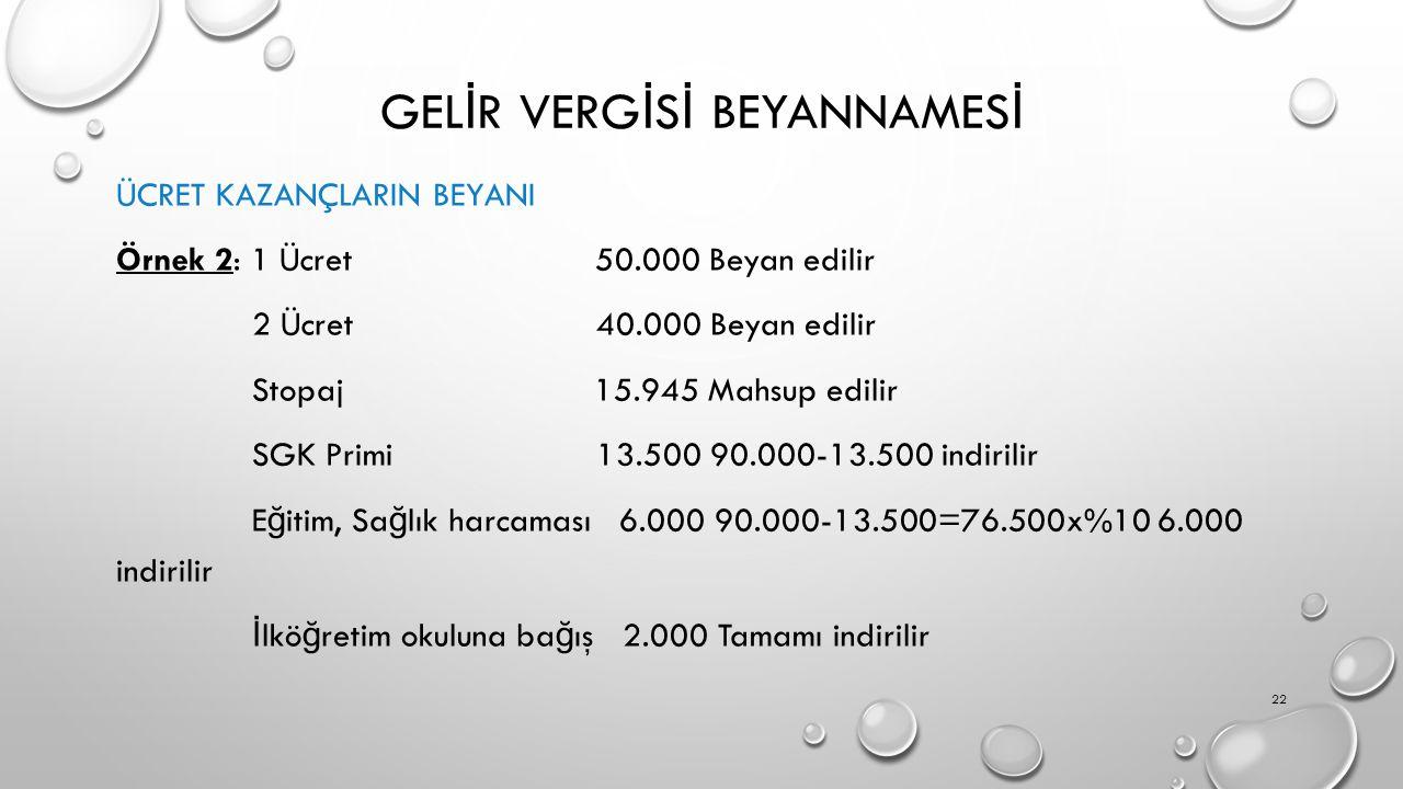 GEL İ R VERG İ S İ BEYANNAMES İ ÜCRET KAZANÇLARIN BEYANI Örnek 2: 1 Ücret 50.000 Beyan edilir 2 Ücret 40.000 Beyan edilir Stopaj 15.945 Mahsup edilir