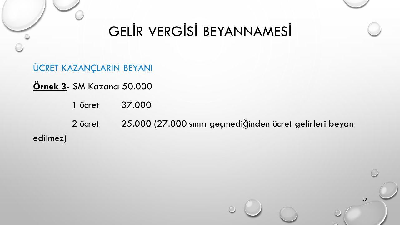GEL İ R VERG İ S İ BEYANNAMES İ ÜCRET KAZANÇLARIN BEYANI Örnek 3- SM Kazancı 50.000 1 ücret 37.000 2 ücret 25.000 (27.000 sınırı geçmedi ğ inden ücret gelirleri beyan edilmez) 23