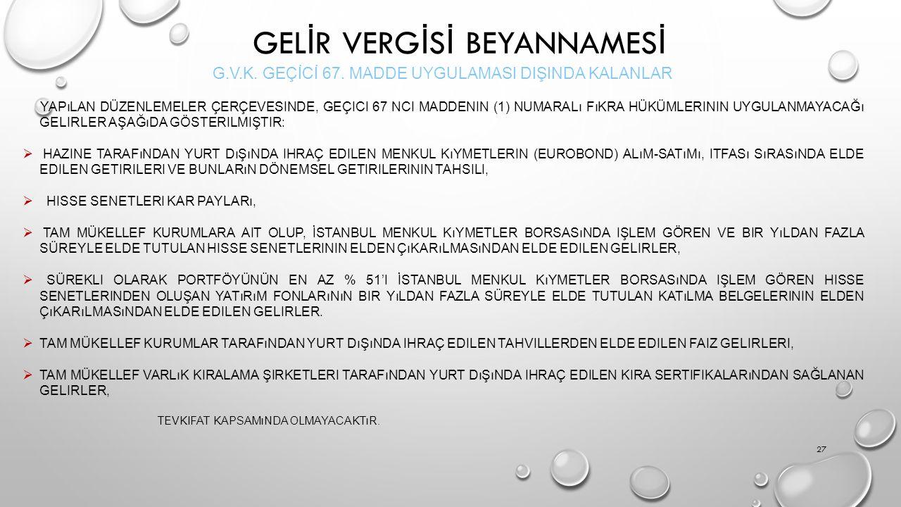 GEL İ R VERG İ S İ BEYANNAMES İ G.V.K.GEÇİCİ 67.