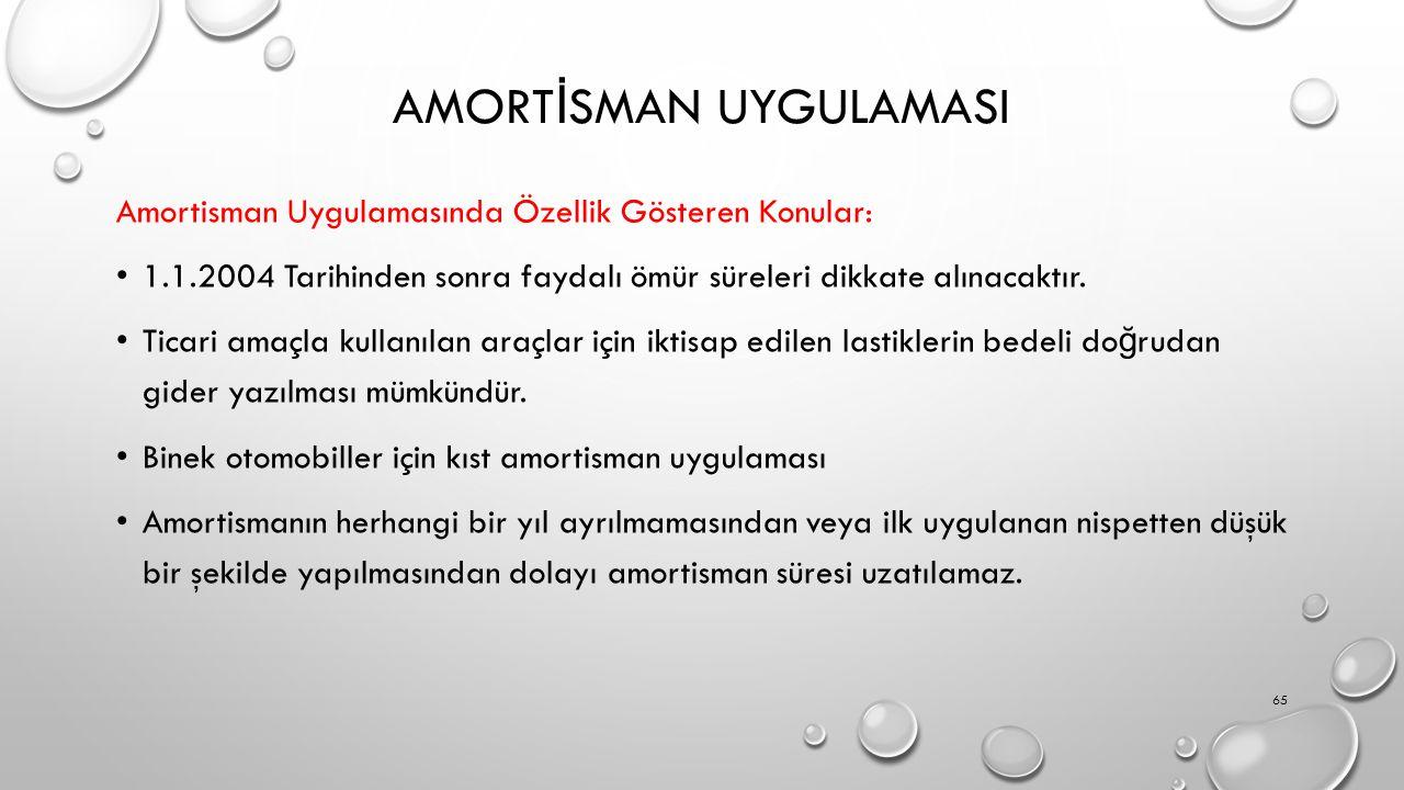 AMORT İ SMAN UYGULAMASI Amortisman Uygulamasında Özellik Gösteren Konular: 1.1.2004 Tarihinden sonra faydalı ömür süreleri dikkate alınacaktır. Ticari