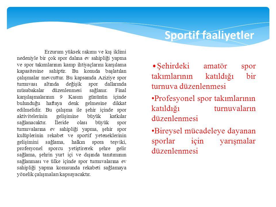 Erzurum yüksek rakımı ve kış iklimi nedeniyle bir çok spor dalına ev sahipliği yapma ve spor takımlarının kamp ihtiyaçlarını karşılama kapasitesine sa