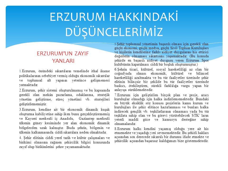 ERZURUM HAKKINDAKİ DÜŞÜNCELERİMİZ ERZURUM'UN ZAYIF YANLARI 1. Erzurum, önündeki sıkıntıların temelinde ithal ikame politikalarının sebebiyet vermiş ol