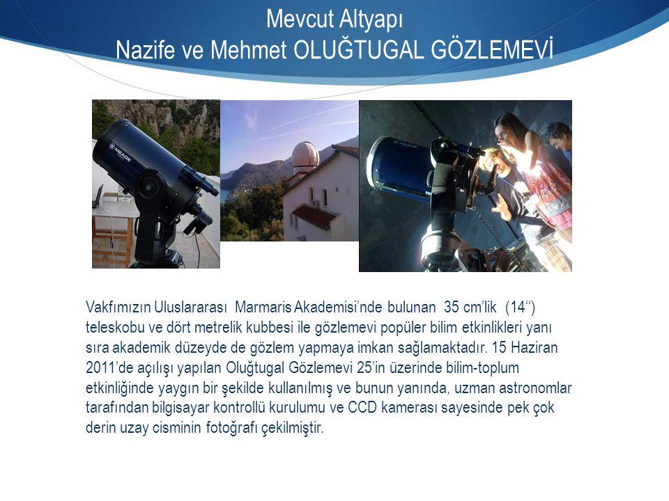 Mevcut Altyapı Nazife ve Mehmet OLUĞTUGAL GÖZLEMEVİ Vakfımızın Uluslararası Marmaris Akademisi'nde bulunan 35 cm'lik (14'') teleskobu ve dört metrelik