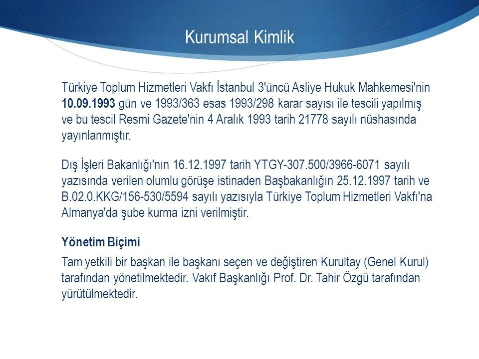 Kurumsal Kimlik Türkiye Toplum Hizmetleri Vakfı İstanbul 3'üncü Asliye Hukuk Mahkemesi'nin 10.09.1993 gün ve 1993/363 esas 1993/298 karar sayısı ile t