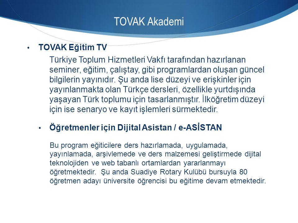 TOVAK Akademi TOVAK Eğitim TV Türkiye Toplum Hizmetleri Vakfı tarafından hazırlanan seminer, eğitim, çalıştay, gibi programlardan oluşan güncel bilgil