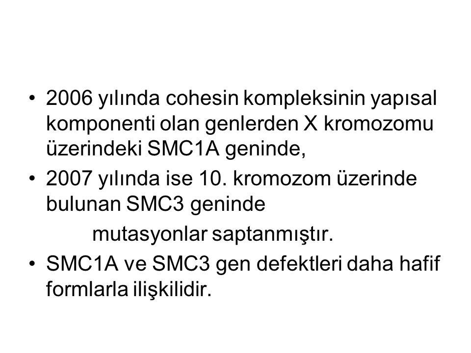 2006 yılında cohesin kompleksinin yapısal komponenti olan genlerden X kromozomu üzerindeki SMC1A geninde, 2007 yılında ise 10. kromozom üzerinde bulun