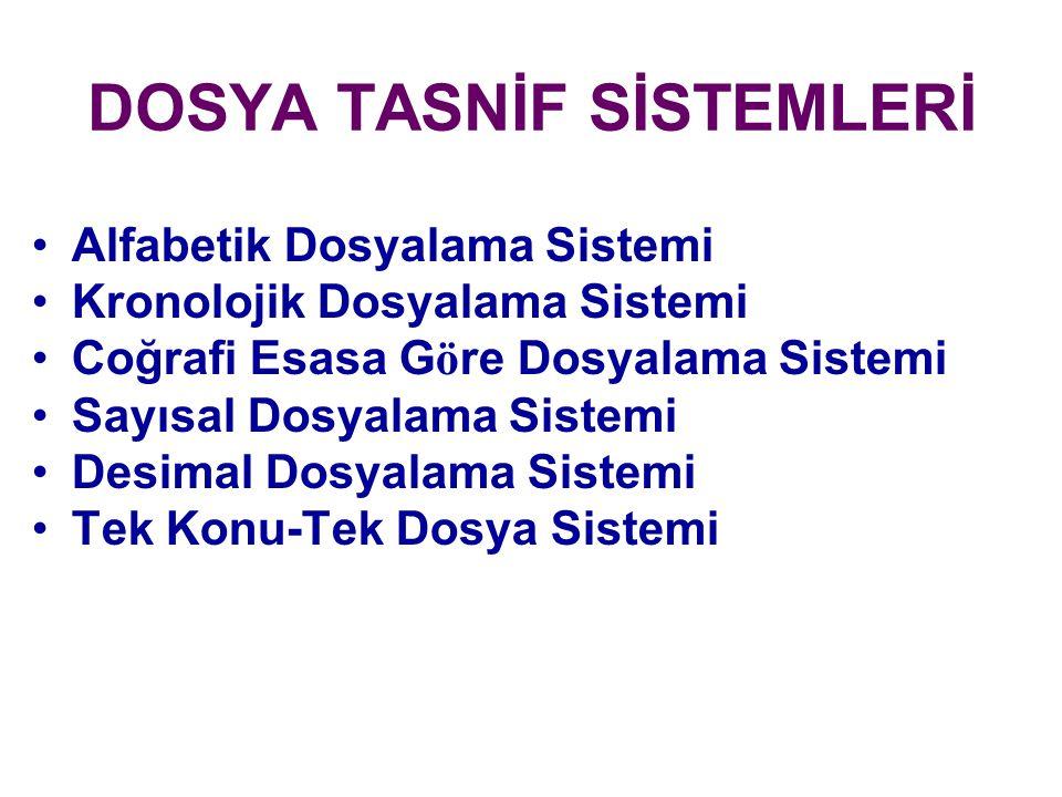 DOSYA TASNİF SİSTEMLERİ Alfabetik Dosyalama Sistemi Kronolojik Dosyalama Sistemi Coğrafi Esasa G ö re Dosyalama Sistemi Sayısal Dosyalama Sistemi Desi