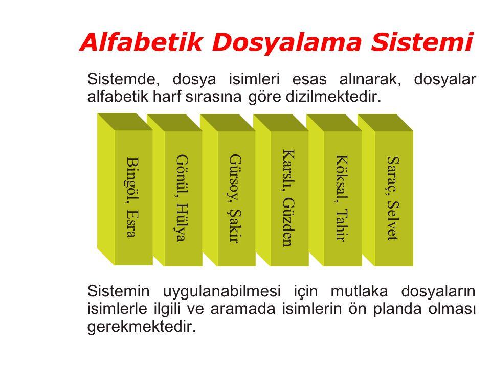 Alfabetik Dosyalama Sistemi Sistemde, dosya isimleri esas alınarak, dosyalar alfabetik harf sırasına göre dizilmektedir. Sistemin uygulanabilmesi için