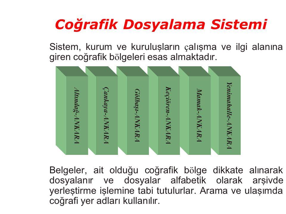 Coğrafik Dosyalama Sistemi Sistem, kurum ve kuruluşların ç alışma ve ilgi alanına giren coğrafik b ö lgeleri esas almaktadır. Belgeler, ait olduğu coğ