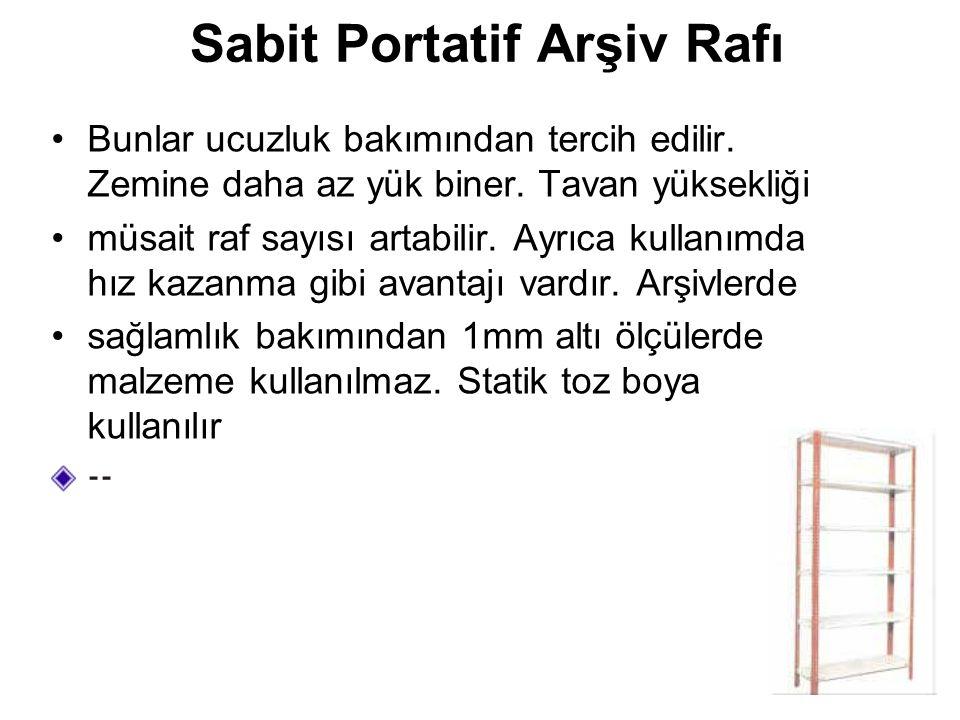 Sabit Portatif Arşiv Rafı Bunlar ucuzluk bakımından tercih edilir. Zemine daha az yük biner. Tavan yüksekliği müsait raf sayısı artabilir. Ayrıca kull