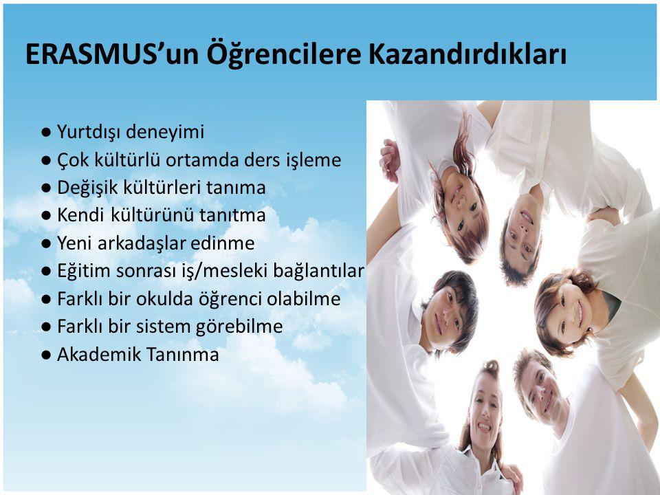 ERASMUS'un Öğrencilere Kazandırdıkları ● Yurtdışı deneyimi ● Çok kültürlü ortamda ders işleme ● Değişik kültürleri tanıma ● Kendi kültürünü tanıtma ●