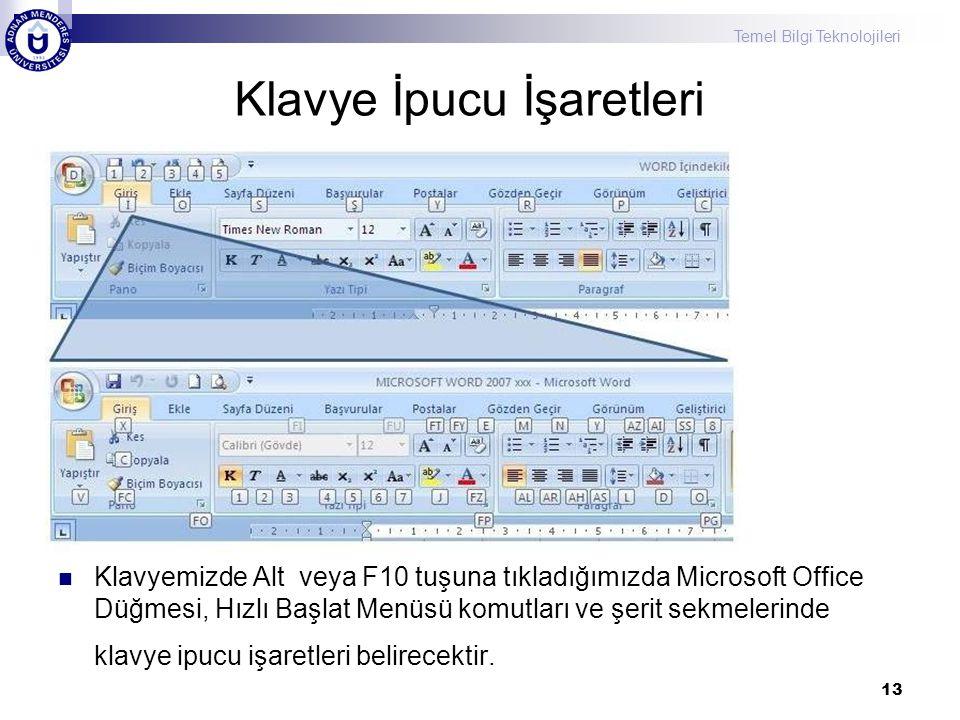 Temel Bilgi Teknolojileri Klavye İpucu İşaretleri Klavyemizde Alt veya F10 tuşuna tıkladığımızda Microsoft Office Düğmesi, Hızlı Başlat Menüsü komutları ve şerit sekmelerinde klavye ipucu işaretleri belirecektir.