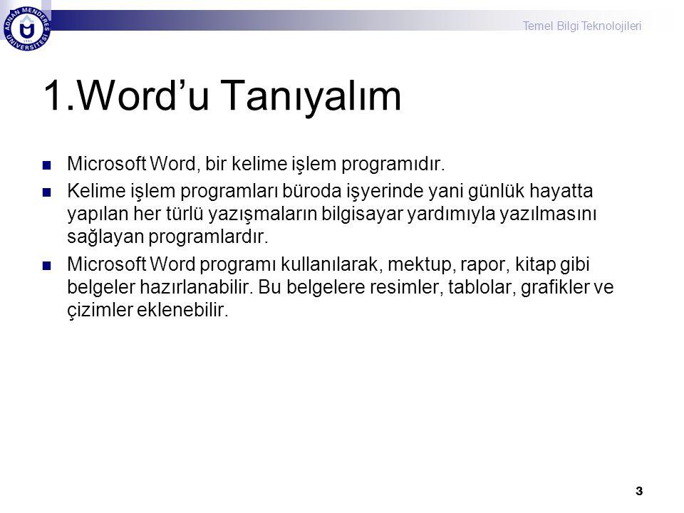 Temel Bilgi Teknolojileri 1.Word'u Tanıyalım Microsoft Word, bir kelime işlem programıdır. Kelime işlem programları büroda işyerinde yani günlük hayat