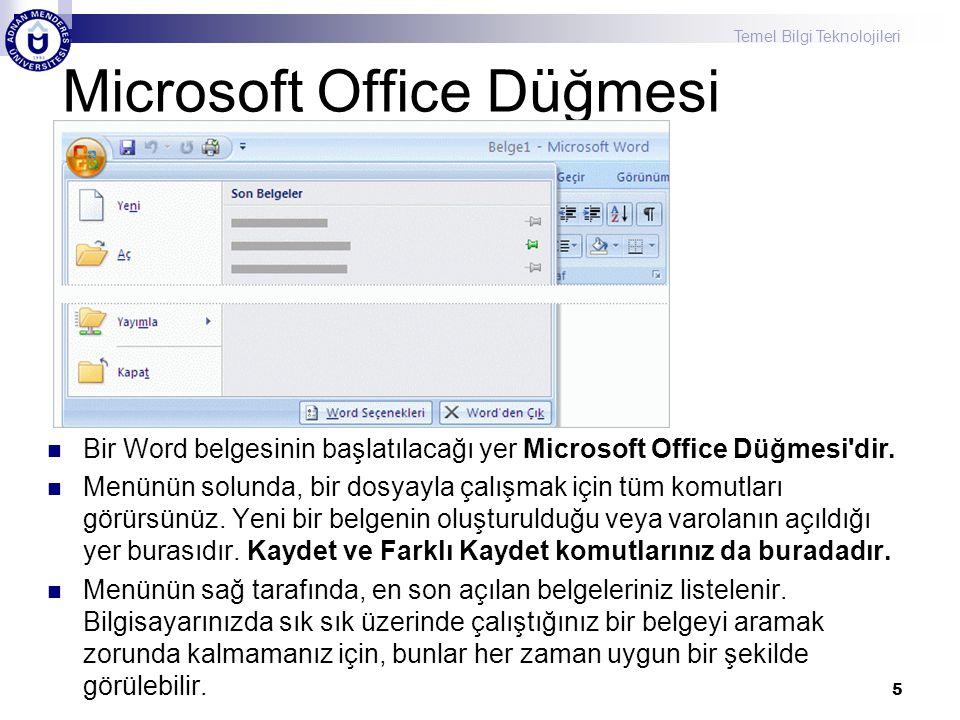 Microsoft Office Düğmesi Bir Word belgesinin başlatılacağı yer Microsoft Office Düğmesi dir.