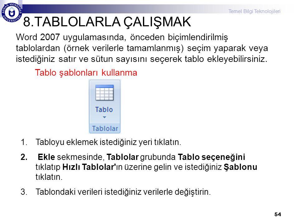 Temel Bilgi Teknolojileri 8.TABLOLARLA ÇALIŞMAK 54 Word 2007 uygulamasında, önceden biçimlendirilmiş tablolardan (örnek verilerle tamamlanmış) seçim y