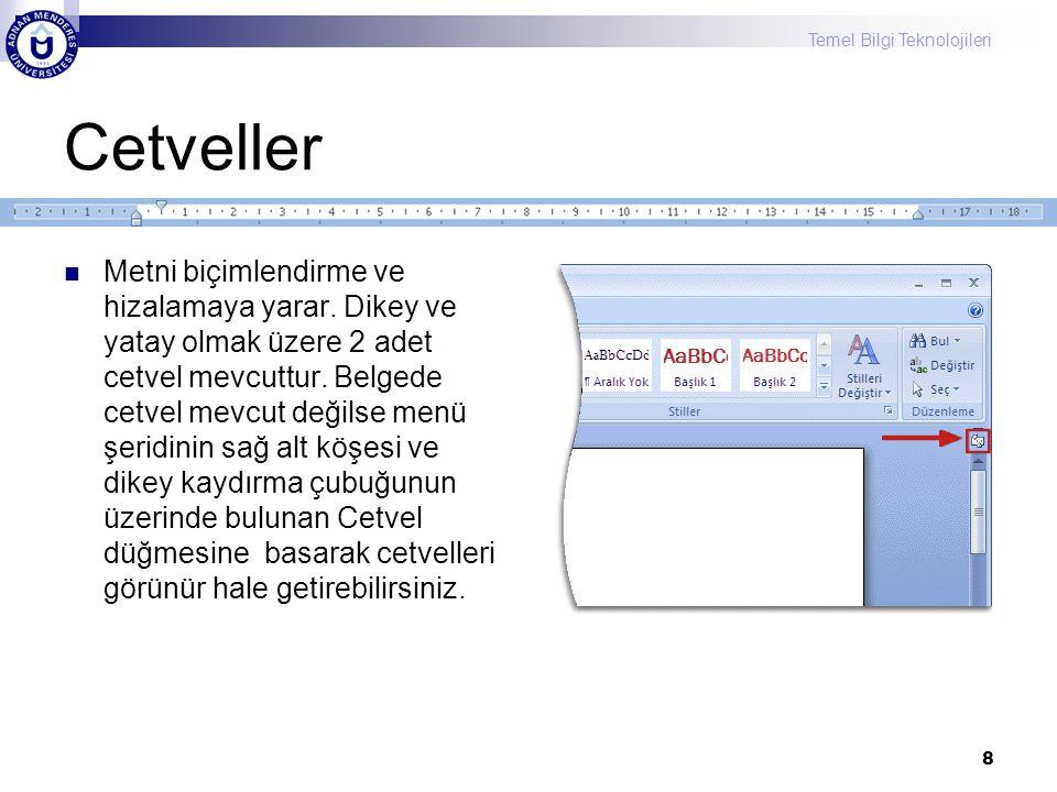Temel Bilgi Teknolojileri Cetveller Metni biçimlendirme ve hizalamaya yarar. Dikey ve yatay olmak üzere 2 adet cetvel mevcuttur. Belgede cetvel mevcut