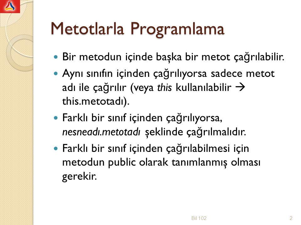 Metotlarla Programlama Başka sınıflar tarafından ça ğ rılma gereksinimi olmayan metotlar private, di ğ er sınıflar tarafından ça ğ rılması gereken metotlar public olarak tanımlanır.