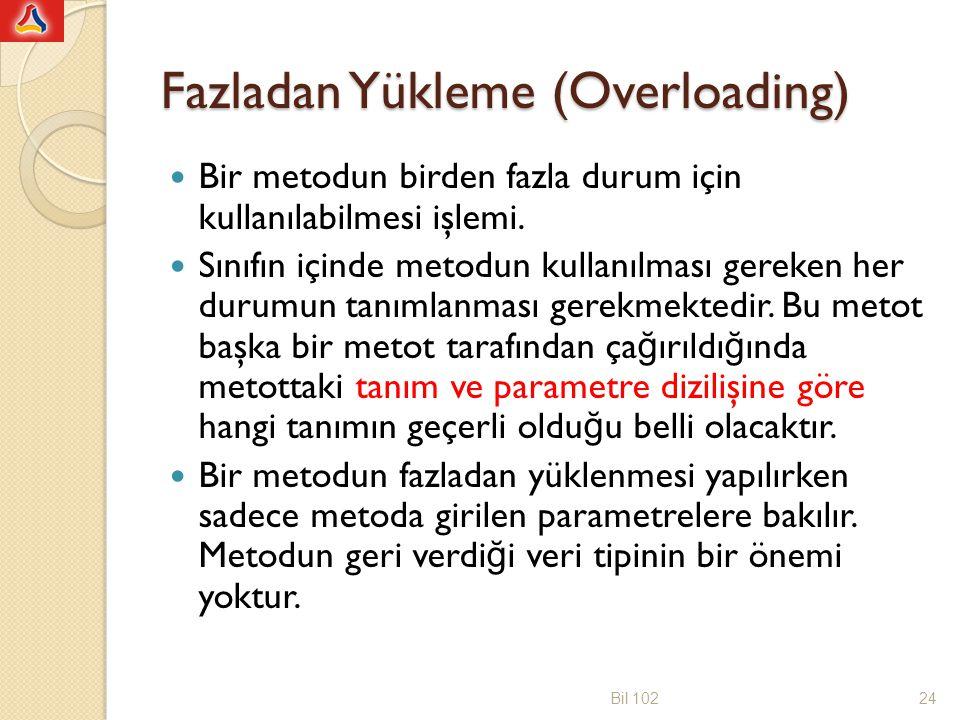 Fazladan Yükleme (Overloading) Bir metodun birden fazla durum için kullanılabilmesi işlemi. Sınıfın içinde metodun kullanılması gereken her durumun ta
