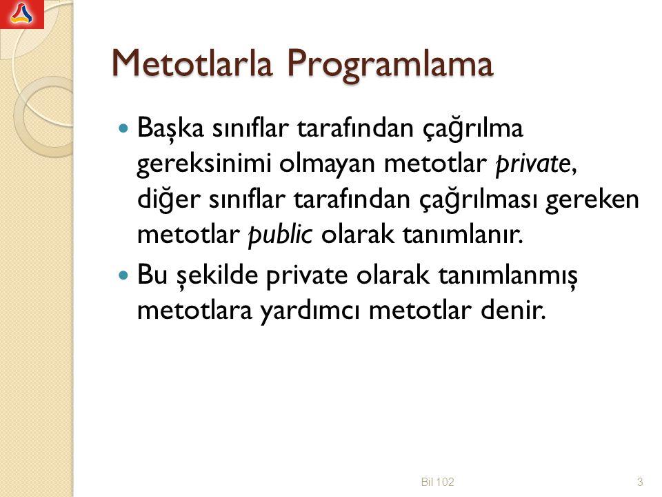 Metotlarla Programlama Başka sınıflar tarafından ça ğ rılma gereksinimi olmayan metotlar private, di ğ er sınıflar tarafından ça ğ rılması gereken met