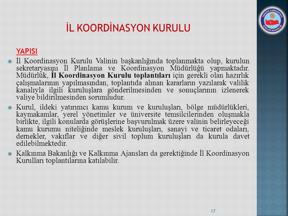 İL KOORDİNASYON KURULU YAPISI  İl Koordinasyon Kurulu Valinin başkanlığında toplanmakta olup, kurulun sekretaryasını İl Planlama ve Koordinasyon Müdürlüğü yapmaktadır.