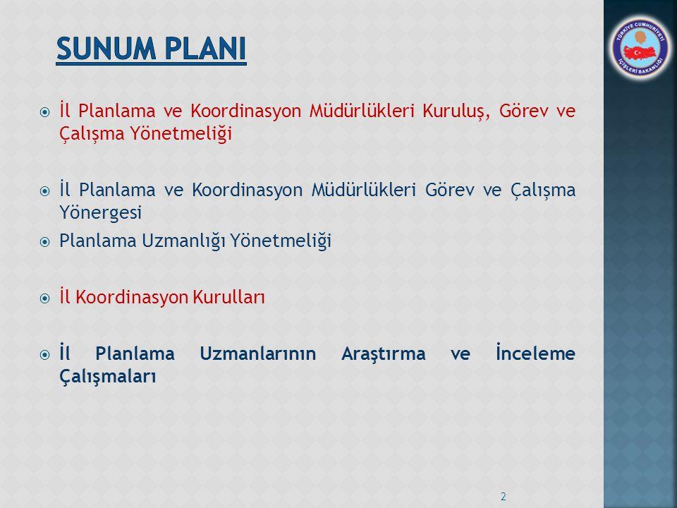  İl Planlama ve Koordinasyon Müdürlükleri Kuruluş, Görev ve Çalışma Yönetmeliği  İl Planlama ve Koordinasyon Müdürlükleri Görev ve Çalışma Yönergesi