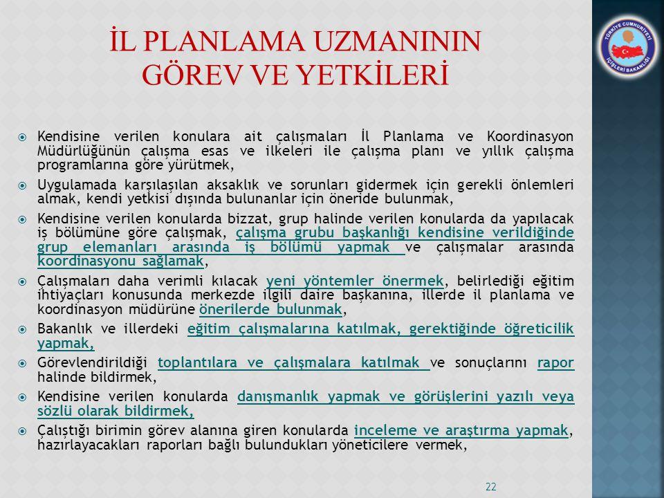 İL PLANLAMA UZMANININ GÖREV VE YETKİLERİ  Kendisine verilen konulara ait çalışmaları İl Planlama ve Koordinasyon Müdürlüğünün çalışma esas ve ilkeler