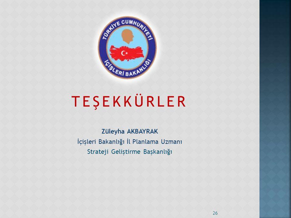 TEŞEKKÜRLER Züleyha AKBAYRAK İçişleri Bakanlığı İl Planlama Uzmanı Strateji Geliştirme Başkanlığı 26