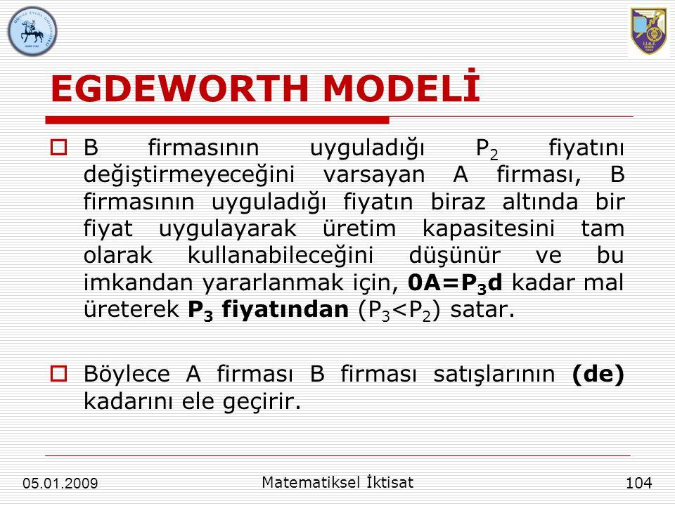 EGDEWORTH MODELİ  B firmasının uyguladığı P 2 fiyatını değiştirmeyeceğini varsayan A firması, B firmasının uyguladığı fiyatın biraz altında bir fiyat