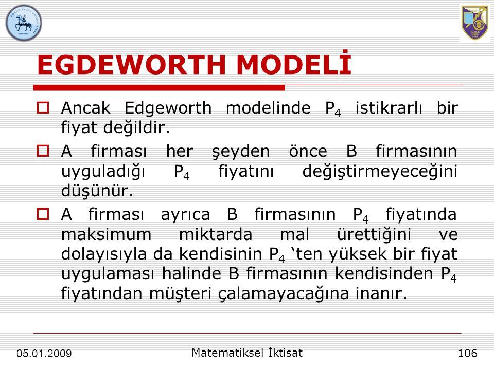 EGDEWORTH MODELİ  Ancak Edgeworth modelinde P 4 istikrarlı bir fiyat değildir.  A firması her şeyden önce B firmasının uyguladığı P 4 fiyatını değiş
