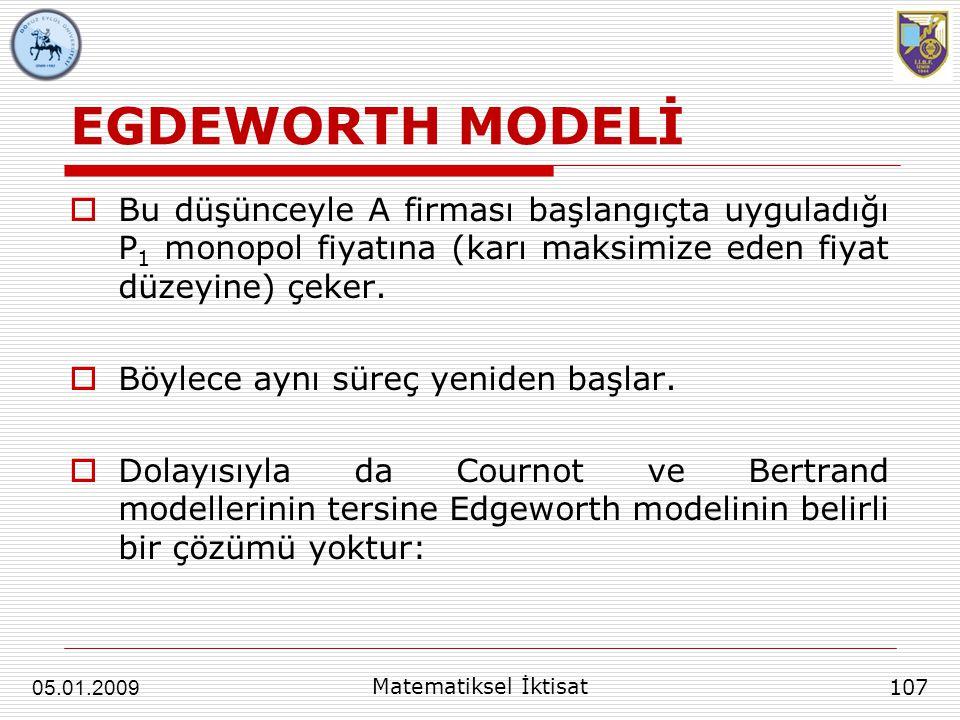 EGDEWORTH MODELİ  Bu düşünceyle A firması başlangıçta uyguladığı P 1 monopol fiyatına (karı maksimize eden fiyat düzeyine) çeker.  Böylece aynı süre