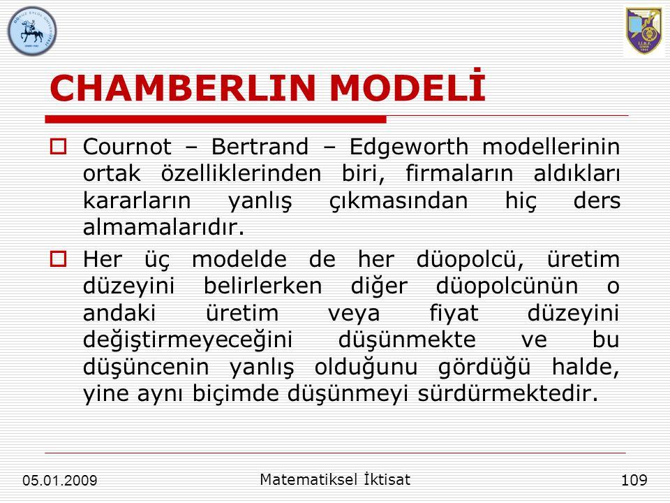 CHAMBERLIN MODELİ  Cournot – Bertrand – Edgeworth modellerinin ortak özelliklerinden biri, firmaların aldıkları kararların yanlış çıkmasından hiç der