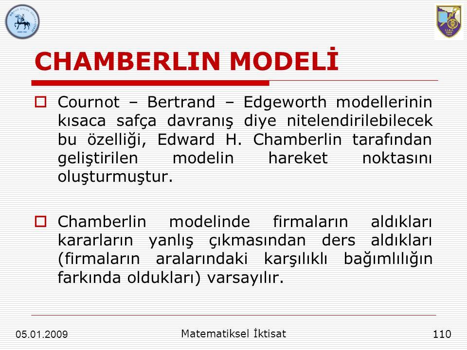 CHAMBERLIN MODELİ  Cournot – Bertrand – Edgeworth modellerinin kısaca safça davranış diye nitelendirilebilecek bu özelliği, Edward H. Chamberlin tara
